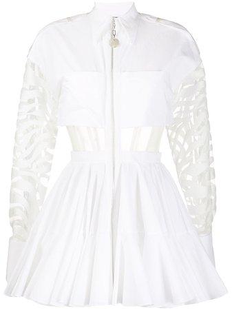 David Koma Sheer Panels Flared Mini Dress - Farfetch