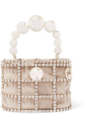 Neutral Holli embellished gold-tone and velvet tote | Rosantica | NET-A-PORTER