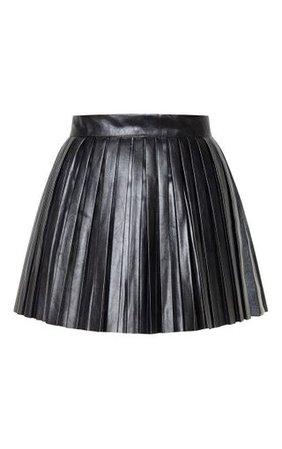 Black Faux Leather Pleated Skater Skirt   PrettyLittleThing