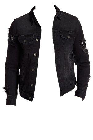 distressed black denim jacket