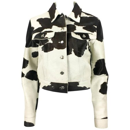 1990's Fendi Numbered Cow Print Ponyskin Jacket For Sale at 1stdibs