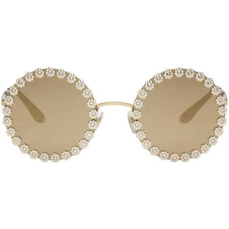 Dolce and Gabbana Gold Studded Daisy Sunglasses