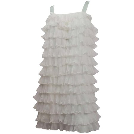 60s Tiered Ruffle Shift Dress For Sale at 1stdibs