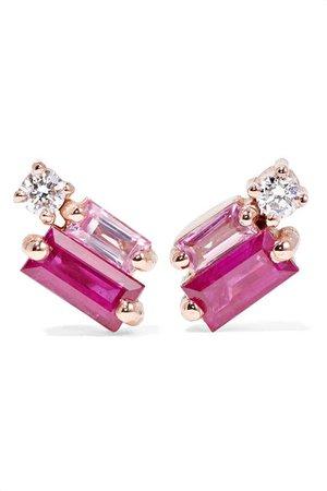 Suzanne Kalan | 18-karat rose gold, diamond and sapphire earrings | NET-A-PORTER.COM