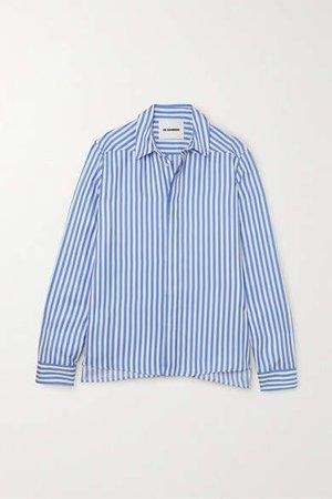 Striped Silk-satin Shirt - Blue