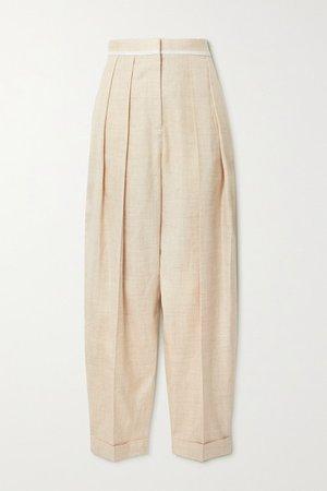 Ariana Pleated Woven Wide-leg Pants - Beige