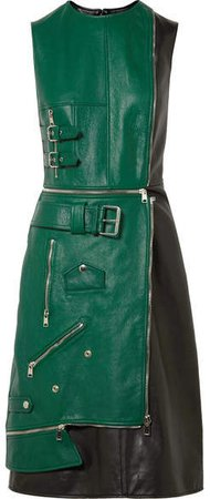 Zip-detailed Two-tone Leather Dress - Green