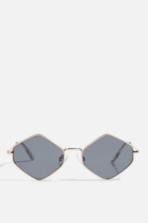 Metal Hexagon Smoke Sunglasses   Topshop