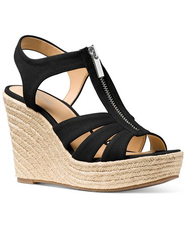 Michael Kors Berkley Espadrille Wedge Sandals & Reviews - Wedges - Shoes - Macy's black