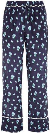 Floral-print Silk-georgette Straight-leg Pants