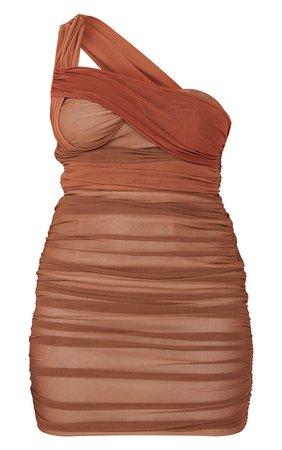 Chocolate Mesh Drape One Shoulder Bodycon Dress   PrettyLittleThing USA
