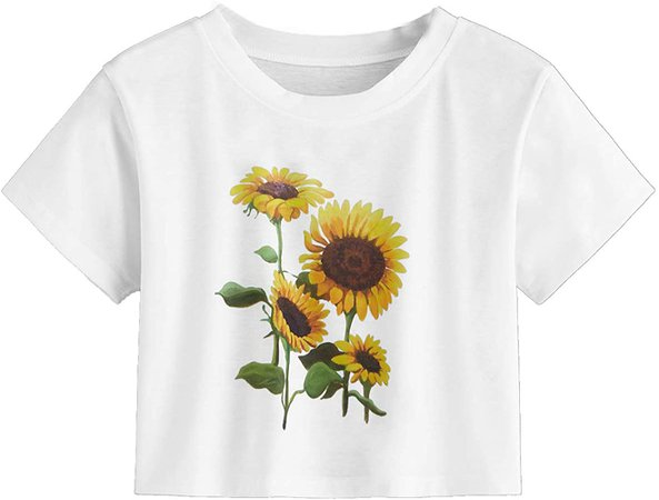 MakeMeChic Women's Cute Sunflower Floral Print Crop Tee Tops White Small at Amazon Women's Clothing store