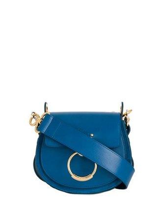 Chloé logo embossed hoop shoulder bag