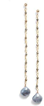 Long Semiprecious Stone Drop Earrings