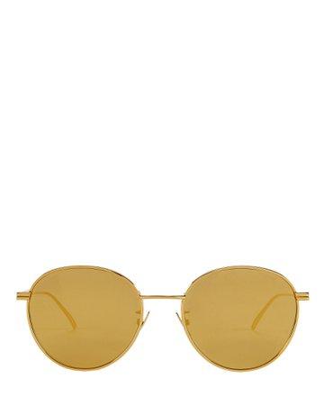 Bottega Veneta | Mirrored Round Wire Sunglasses | INTERMIX®