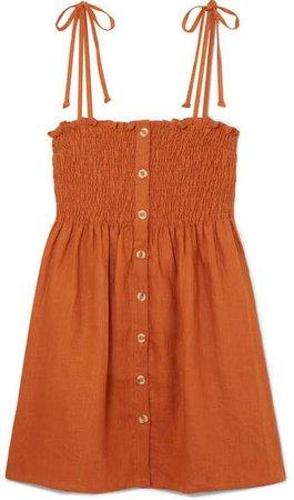 Rosa Smocked Linen Mini Dress - Camel