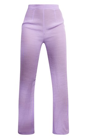 Lilac Wide Leg Linen Look Beach Trousers | PrettyLittleThing USA
