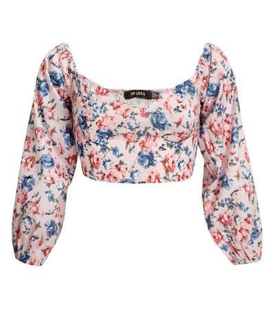 NaaNaa Pink Floral Long Sleeve Crop Top   New Look