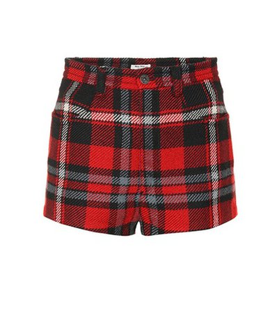 Plaid wool shorts