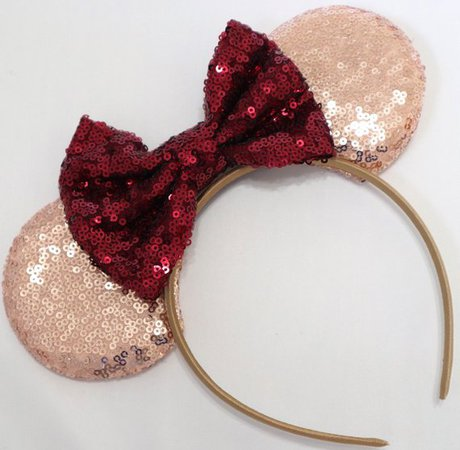 Burgundy maroon Minnie Ears Rose Gold Minnie Ears Sequin | Etsy