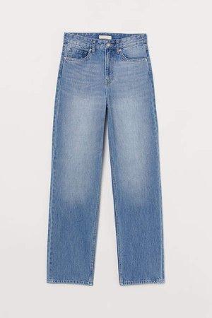 Straight High Waist Jeans - Blue