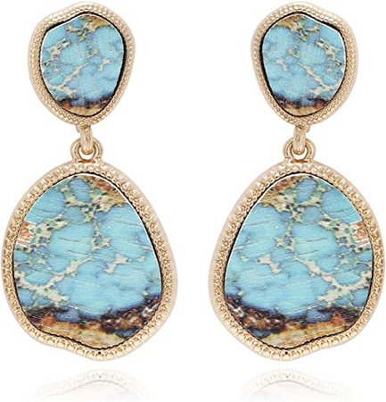 Amazon.com: BONALUNA Bohemian Wood And Marble Effect Oval Shaped Drop Statement Earrings (TURQUOISE): Clothing