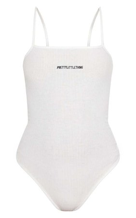 PrettyLittleThing White Rib Square Neck Thong Bodysuit | PrettyLittleThing
