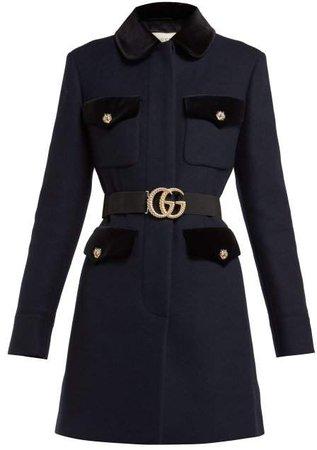 Velvet Trimmed Single Breasted Wool Coat - Womens - Navy Multi