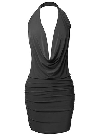 Emma Women's Sexy Halter Neck Ruched Bodycon Backless Party Cocktail Mini Dress