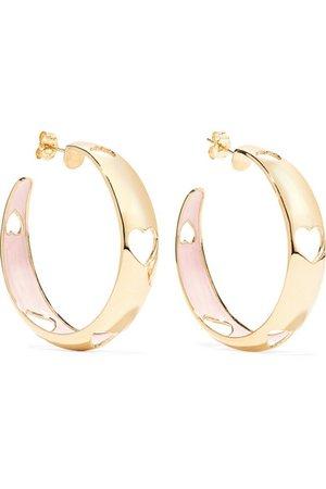 Alison Lou | Heart 14-karat gold and enamel hoop earrings | NET-A-PORTER.COM