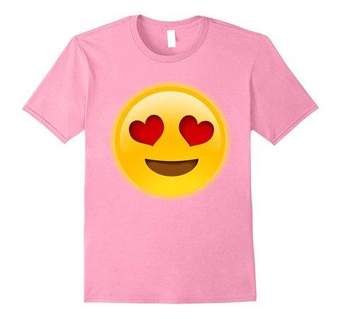 Heart Eye Smiley Face Tshirt Emoji Tee Happy T-Shirt Pink-TH – TEEHELEN