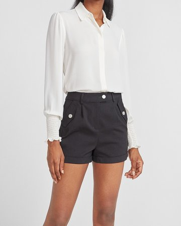 High Waisted Utility Pocket Rolled Hem Shorts