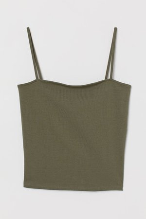 Cropped Jersey Camisole Top - Khaki green - Ladies   H&M US