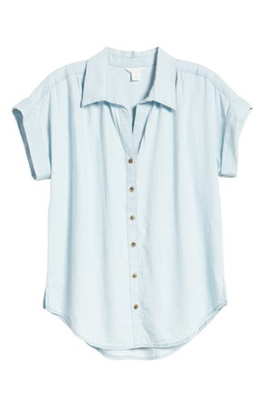 Caslon® Chambray Camp Shirt | Nordstrom