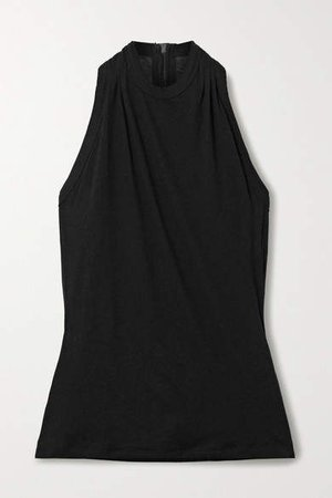 Sabrina Slub Cotton And Cashmere-blend Tank - Black