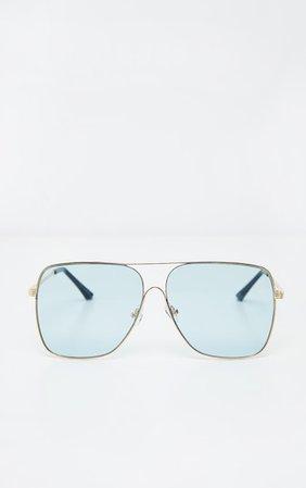Blue Lens Metal Frame Retro Aviator Glasses   PrettyLittleThing