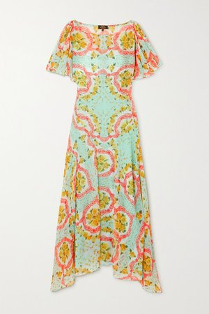 Olivia Asymmetric Floral-print Chiffon Dress - Turquoise