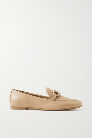 Trifoglio Embellished Leather Loafers - Beige