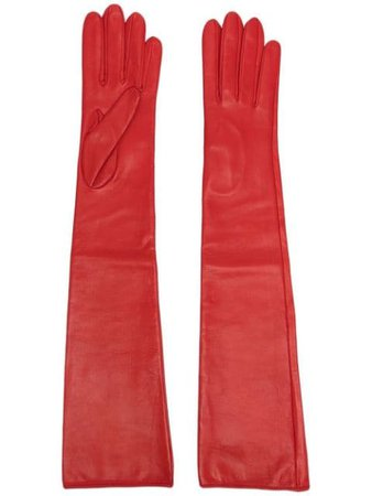 Manokhi long-length leather gloves red SS21MANO88A330CLASSICRED - Farfetch