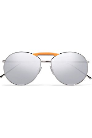 Fendi | Gentle Fendi aviator-style silver-tone mirrored sunglasses | NET-A-PORTER.COM