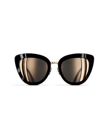 Cat Eye Sunglasses, acetate & metal, black - CHANEL