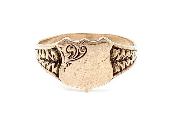 V I N T A G E // ornate shield signet / 9ct rose gold ring / | Etsy