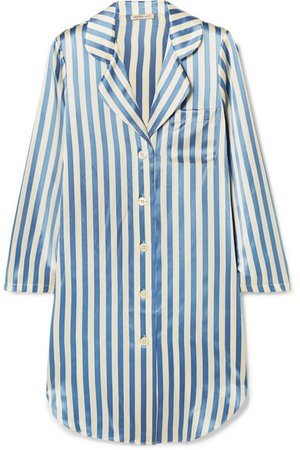 Morgan Lane | Jillian striped silk-charmeuse nightdress | NET-A-PORTER.COM