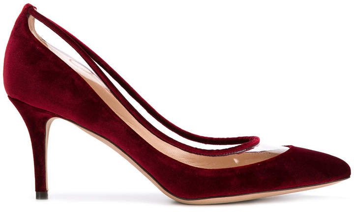 velvet classic pumps with clear panel