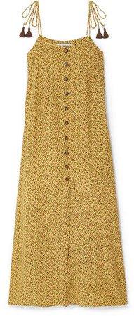 Arrieta Floral-print Crepe Midi Dress - Yellow