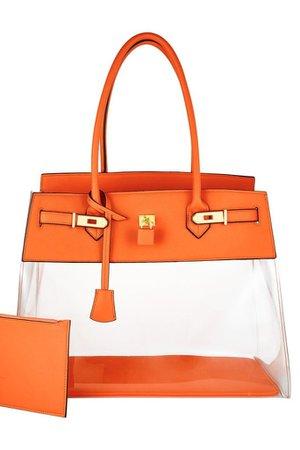 Tropical Orange Clear Bag