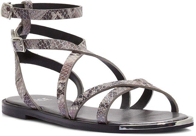Thea Snakeskin Embossed Ankle Strap Sandal