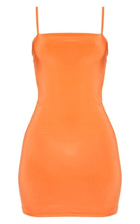 Orange Slinky Strappy Ruched Back Bodycon Dress | PrettyLittleThing