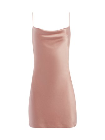 HARMONY DRAPEY SLIP DRESS IN ROSE TAN | Alice + Olivia