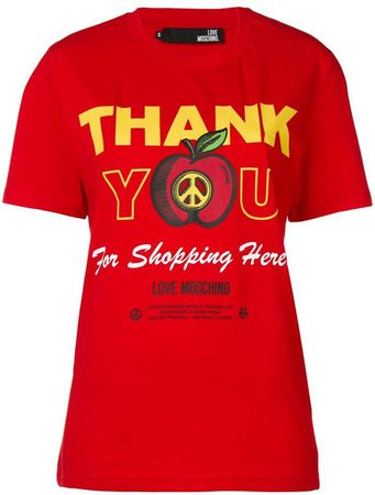 'thank you for shopping here' printed T-shirt